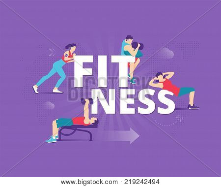 Visual metaphor of sport, fitness and healthy lifestyle. Men and women faceless characters in action around word 'FITNESS'. Vector illustration isolated on purple background