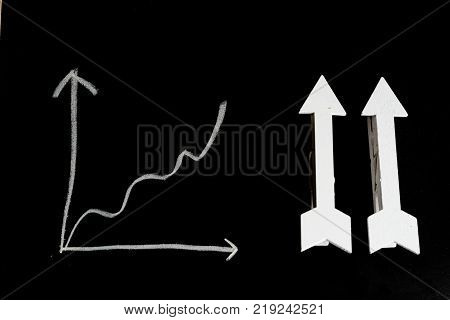 Business and financial concept : Two arrow pointed at upward direction beside an ascending graph on black board