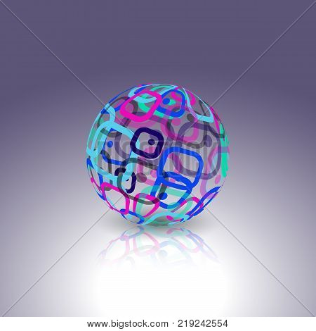 Abstract globe made from retro rectangles. Conceptual Technology Logo.