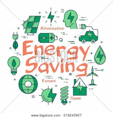 Vector linear green round concept of Energy Saving Sign. Line icons of planet care, alternative sources of nutrition, green spaces, clean water and electromobiles