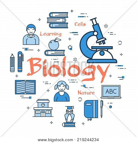 Vector linear blue round concept of Biology Subject. Line icons of school lesson, microscope, anatomy and cell studies