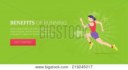 Running and jogging illustrative banner design with athletic woman running with fitness tracker on her arm. Fitness, sport, workout vector banner template. poster