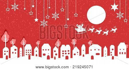Silhouette of santa on a sledge harnessed by magic deers flying over a village with gifts flying off on the red background.