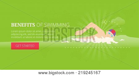 Swimming illustrative banner design with man in a swimming cap swimming on a pool. Fitness, sport, workout vector banner template.