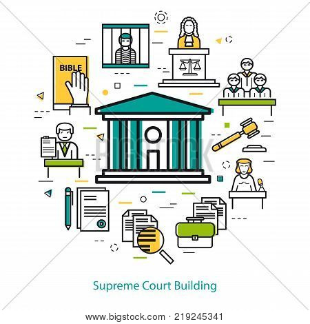 Vector banner on white background of supreme Court Building - round concept. Courthouse and legal icons