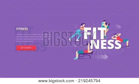 Vector illustrative hero banner of healthy lifestyle, fitness, sport and workout. Wellbeing hero website header with young men and women characters around word 'FITNESS' together over digital world map.