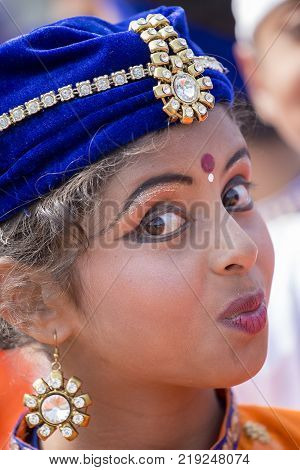 NEW DELHI INDIA - JANUARY 23 2017 : Indian girls take part in rehearsal activities for the upcoming India Republic Day parade. New Delhi India