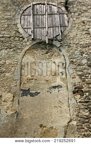 Old walled door  - ruins of abandoned church