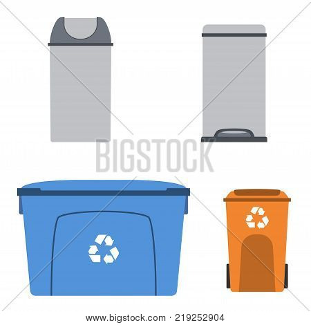 Thrash and recycling can. Garbage rubbish container set. Trash dumpster. Vector illustration.