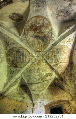 PIVON CZECH REPUBLIC JULY 18 2017: Ruins of Augustinian Monastery from 13th century. Ceiling paintings in ruins of the Augustinian Monastery from 13th century - burned in 1421 by the Hussites in the 17th century and plundered by the Swedes. In 1785 the mo