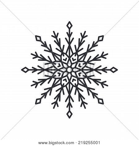Snowflake silhouette of circular shape with lines and triangles, and circle in centre, schematic crystal object, colorless vector illustration poster