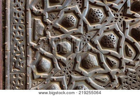 Ornaments of the bronze-plate ornate door, public mosque, Old Cairo, Egypt