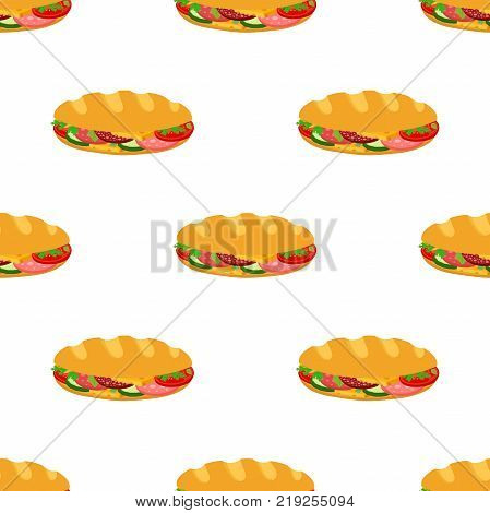 Sandwich seamless pattern, breakfast fast food, bread with ham, cheese, vegetables. Made in cartoon flat style. Vector illustration