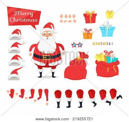 Santa construction set of icins. Create your own illustration. Vector of bended arms and legs, hats and presents. Kinds of gifts for children all around world. Close and open enormous red bag.