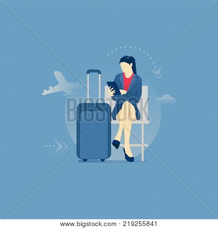 Young business woman sitting with tablet pc in an airport lounge during a business trip. Vector illustration of business travel. Isolated on blue background