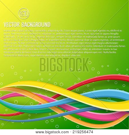Abstract colorful dynamic template with text and bright wavy intersecting ribbons on green background vector illustration