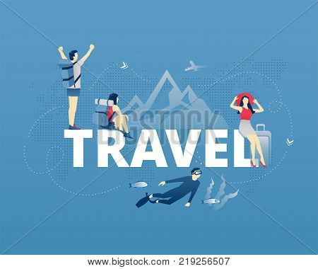 Visual metaphor of world traveling, exploring and vacation. Men and women faceless characters in action around word TRAVEL. Vector illustration isolated on blue background