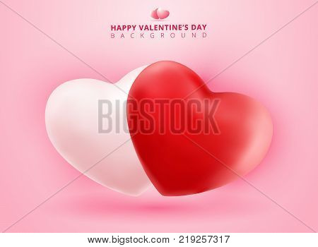 Soft and smooth red and white valentines hearts on pink Background with copy space for greetings card. Realistic 3D vector illustration
