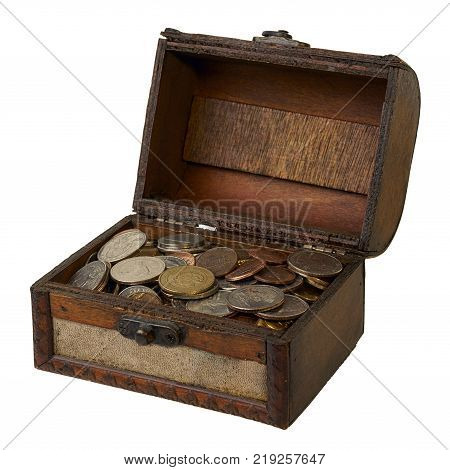 Vintage open wooden box with savings isolated on white