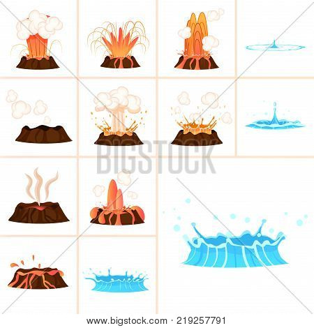 Stages of volcanic eruption and water splash isolated on white background. Steaming, hot burning lava approaching and eruption phases. Raindrop falling and water spraying vector illustration.