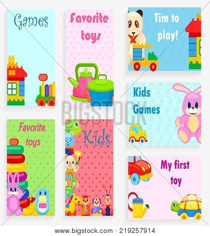 Kids games and favorite toys vector illustrations with plastic cookware, soft animals, small cars, colorful constructors.