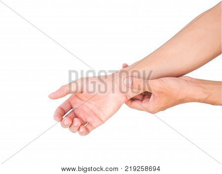 Man hand holding wrist on white background health care and medical