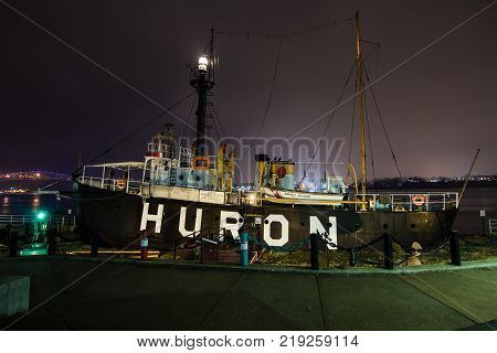 Port Huron, Michigan, USA - February 23, 2017: The Historic Huron Lightship Museum in Michigan is on the National Register of Historic Places and is a popular tourist attraction in Port Huron Michigan