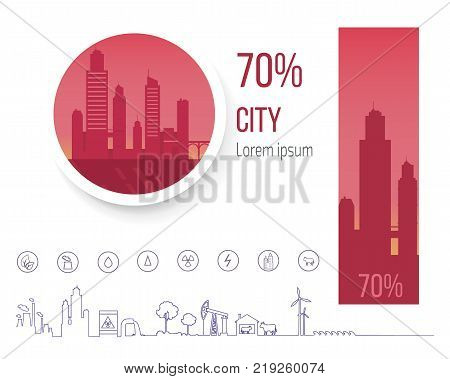 70 percent polluted cities in world, problem of air pollution and smog vector illustration infographic poster with icons and symbols