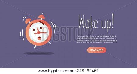 Vector cartoon illustration wakeup clock with text Wake up.