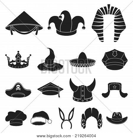 Different kinds of hats black icons in set collection for design.Headdress vector symbol stock  illustration.