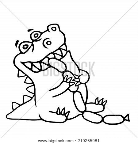 Dinosaur eats sausages. Funny cartoon cool character. Contour freehand digital drawing. White color background. Cheerful pet for web icons and shirt. Isolated vector illustration.
