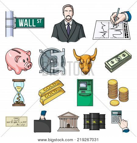 Money and Finance cartoon icons in set collection for design. Business and Success vector symbol stock  illustration.