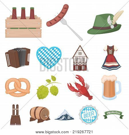October festival in Munich cartoon icons in set collection for design.Tradition and fun vector symbol stock  illustration.