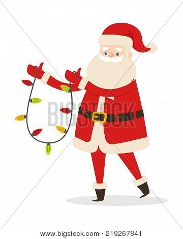 Santa Claus with garland isolated on white. New Year decoration in cartoon design. Funny magic character in flat. Saint Nick hold Christmas lights vector illustration in winter holiday concept.