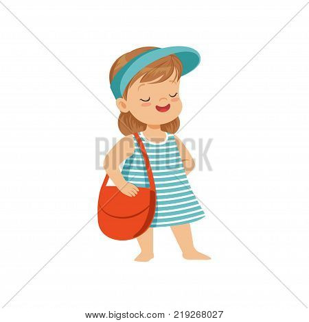 Cute little girl in a blue visor standing with bag, kid playing at the beach, happy infants outdoor activity on summer vacations vector Illustration on a white background