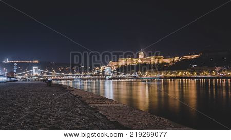 Nightscape of Buda Castle and Chain Bridge in Budapest, Hungary