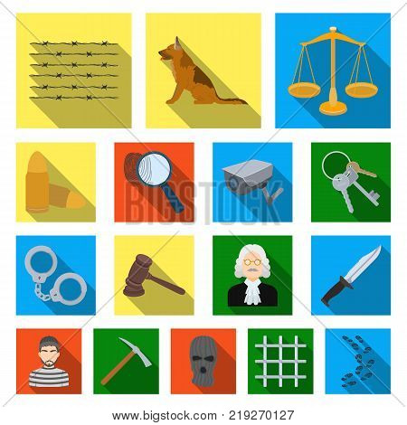 Prison and the criminalflat icons in set collection for design.Prison and Attributes vector symbol stock  illustration.