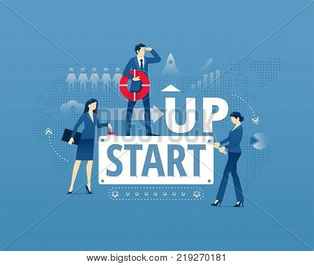 Business metaphor of start-up project launch. Businessman and two businesswomen faceless characters in action around words START UP. Vector illustration isolated on blue background