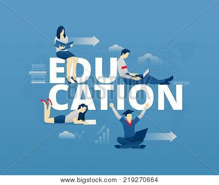 Visual metaphor of modern education. Young men and women faceless characters in different movements around word EDUCATION. Vector illustration isolated on blue background