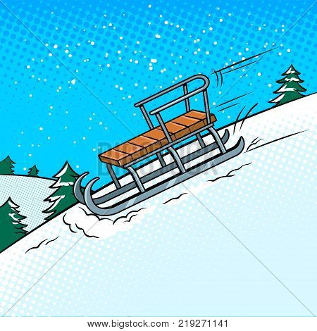 Sledge slide down hill on snow pop art retro vector illustration. Comic book style imitation.