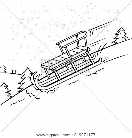 Sledge slide down hill on snow coloring book vector illustration. Comic book style imitation.