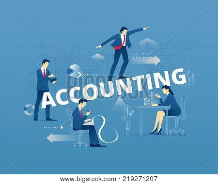 Business metaphor of financial accounting. Businessmen and businesswomen faceless characters in action around word ACCOUNTING. Vector illustration isolated on blue background