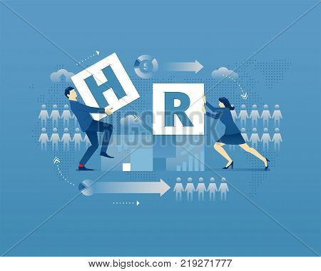 Business metaphor of human resources. Businessman and businesswoman faceless characters placing letters 'H' and 'R' together over digital world map. Vector illustration isolated on blue background