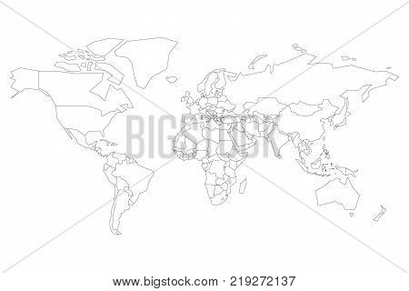 Political map of World. Blank map for school quiz. Simplified black thin outline on white background.