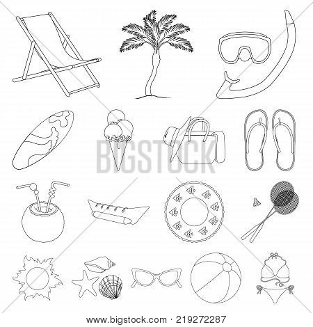 Summer rest outline icons in set collection for design. Beach accessory vector symbol stock  illustration.
