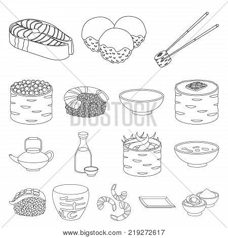 Sushi and seasoning outline icons in set collection for design. Seafood food, accessory vector symbol stock  illustration.