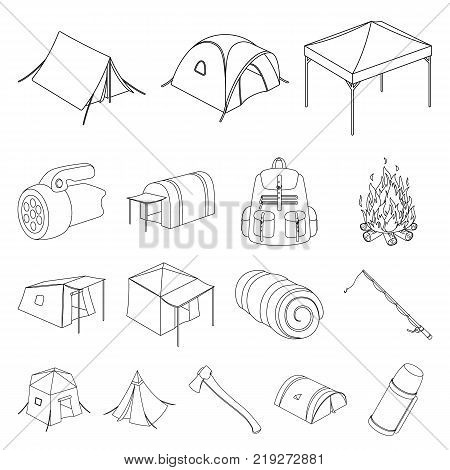 Different kinds of tents outline icons in set collection for design. Temporary shelter and housing vector symbol stock  illustration.