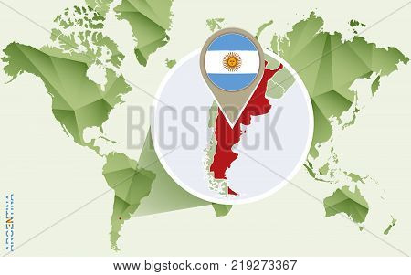 Infographic for Argentina detailed map of Argentina with flag. Vector Info graphic green map.