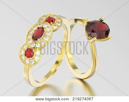 3D illustration two yellow gold three rubies stone solitaire engagement ring and engagement illusion twisted ring with ruby on a gray background