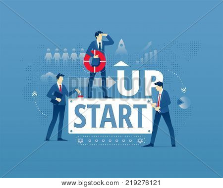 Business metaphor of start-up project launch. Businessmen faceless characters in action around words START UP. Vector illustration isolated on blue background